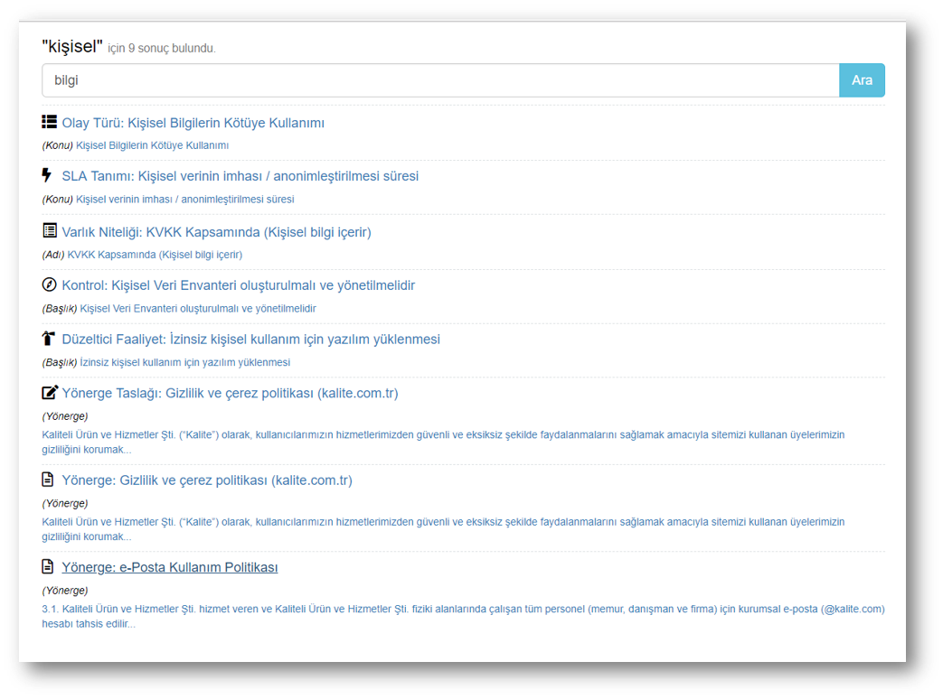 Dosya yönetimi ve Metin arama (FTS)